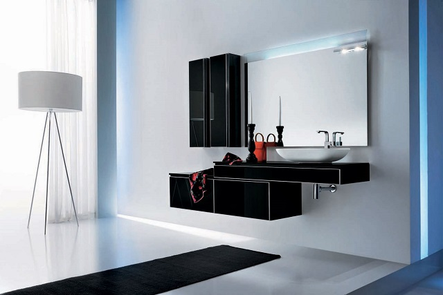 Modern black bathroom  Black: Create a dramatic and beautiful space Black bathroom furniture Onyx by Stemik Living 1