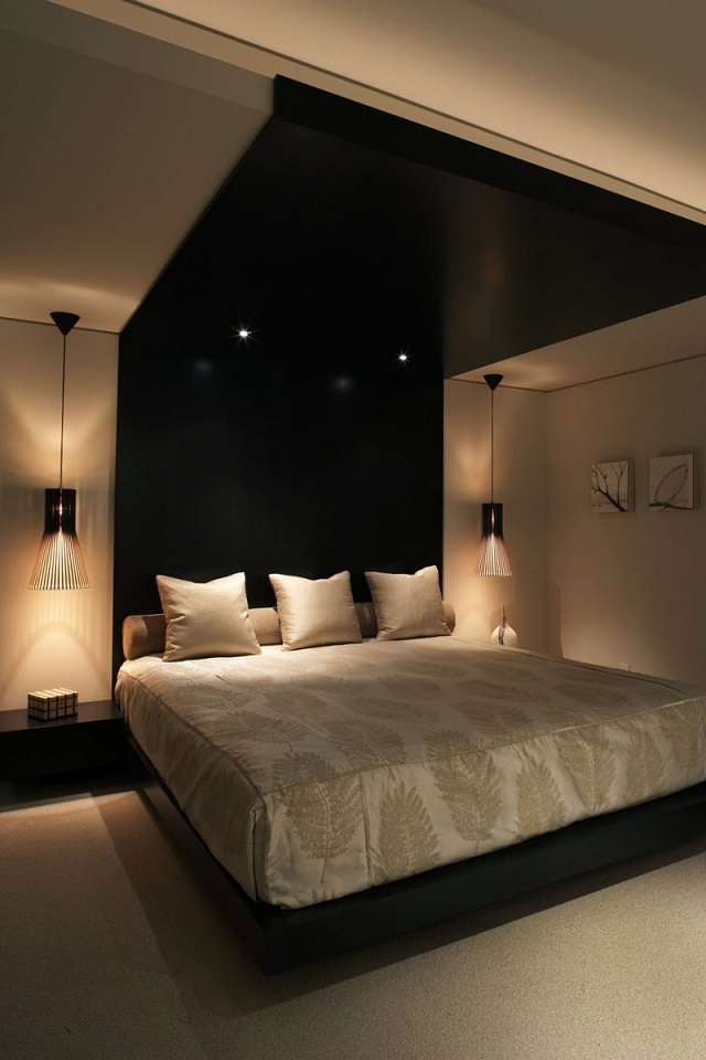 Bedroom with black theme and king size bed  Black: Create a dramatic and beautiful space king size bed design black headboard black ceiling bedroom interior decor