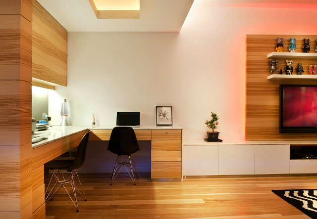 modern-wood-house  Tiny Wooden Apartment in Hong Kong Wood panel study