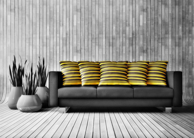 black-and-yellow-modern-room  Radiant Orchid - Spring Inspired Spaces black and yellow room