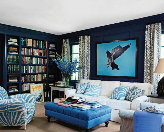 bold-blue-living-room  Radiant Orchid - Spring Inspired Spaces bold blue living room