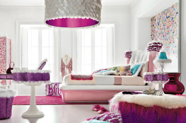 colorful-modern-room  Radiant Orchid - Spring Inspired Spaces colorful room