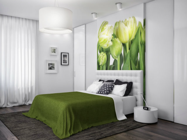 green-and-white-bedroom  Radiant Orchid - Spring Inspired Spaces green and white bedroom