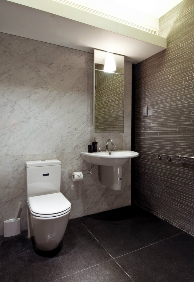 modern-wood-house  Tiny Wooden Apartment in Hong Kong marble grey tile bathroom