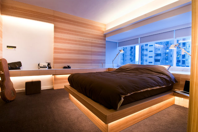 modern-wood-house  Tiny Wooden Apartment in Hong Kong modern wood bed