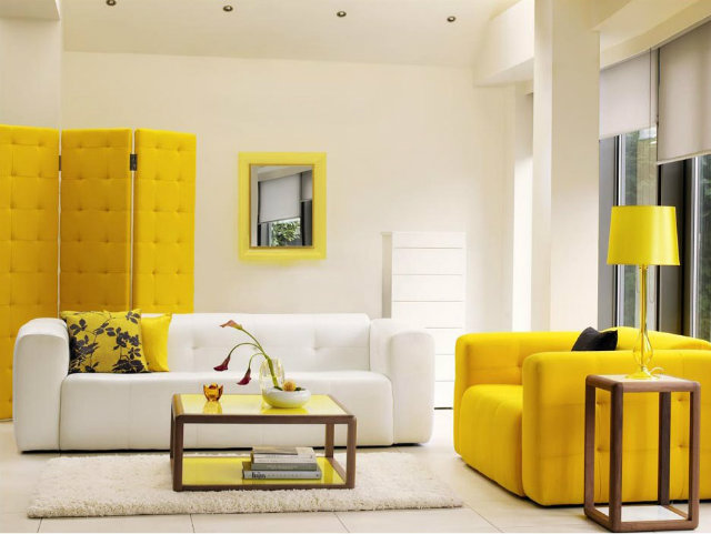 white-and-yellow-modern-living-room  Radiant Orchid - Spring Inspired Spaces white and yellow living room